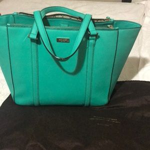 Teal kate Spade tote with dust bag